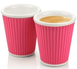 35810bb0442 2 x porcelain cups with pink silicon band - 180ml - Les Artistes Paris