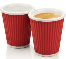 Les Artistes de Paris 2x porcelain cup with red silicone band - 180ml