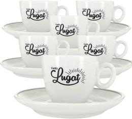 6 espresso cups and porcelain saucers - 80ml - Cafés Lugat