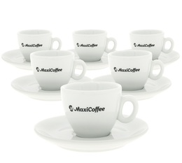 MaxiCoffee 6 porcelain espresso cups and saucers - 80ml