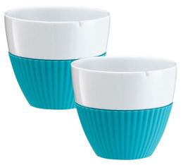 VIVA Scandinavia 'Anytime' porcelain tea cups with turquoise silicone sleeve - 250ml