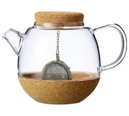 Théière Cortica en verre et liège 50 cl + boule à thé - VIVA Scandinavia