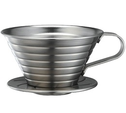 Tiamo K02 flat-bottomed coffee dripper in stainless steel - 2 cups