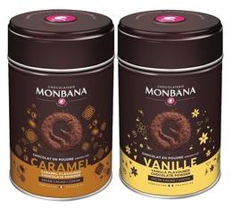 Pack Chocolat en poudre aromatisé Vanille et Caramel 2x250g - Monbana