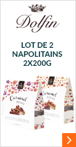 Lot de 2 Napolitains Caramel et Chocolat Noir & Superfruits et Caramel Chocolat Lait & F