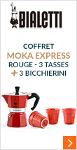 Pack Moka Express 3 tasses rouge + 3 Bicchierini rouge - Bialetti