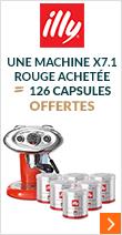 Offre exceptionnelle : pour l'achat d'une machine à capsules Illy X7.1 Rouge 126 capsules