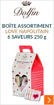 Boîte assortiment Love Napolitain 6 saveurs 250g - Dolfin