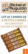 Lot de 5x4 petits carrés au chocolat au lait & noisettes - Michel et Augustin