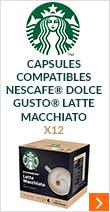 Capsules Compatibles Nescafe® Dolce Gusto® Latte Macchiato x 12 - Starbucks