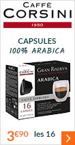Capsules Gran Riserva Arabica x16 - Caffè Corsini pour Nescafe® Dolce Gusto®