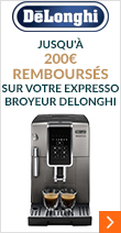 jusqu'à 200€ remboursés sur votre Expresso Broyeur Delonghi