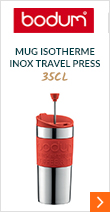 Mug isotherme inox Travel Press 35 cl rouge - 2 couvercles (Piston & Clapet) - Bodum
