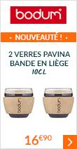 2 verres Pavina bande en liège 10cl - Bodum