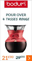 Cafetière filtre Bodum Pour Over rouge - 4 tasses à 21 euros 90