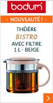 Théière Bistro Nouveau avec filtre 1L Beige - Bodum