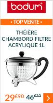 Théière Chambord filtre en acrylique noir 1 L - Bodum