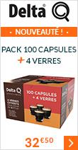 Pack 100 capsules + 4 verres - Delta Q