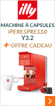 Machine à capsules Y3.2 Iperespresso Rouge Illy + Offre cadeau