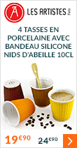 4 tasses en porcelaine avec bandeau silicone nids d'abeille 10cl - Les Artistes