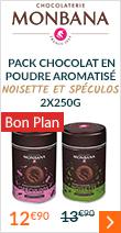 Pack Chocolat en poudre aromatisé Noisette et Spéculos 2x250g - Monbana